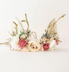 Woodland Deer Flower Crown with Antlers, Christmas Photo Prop, Tieback Headband, Baby Flower Crown, Newborn Headband, Girls Flower Crown by masonandharlow on Etsy