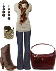 boot cut jeans, brown t shirt, brushed bronze accessories, brown high heeled boots, pop of color in scarf. New Outfits, Fall Outfits, Cute Outfits, Fashion Outfits, Womens Fashion, Dress Up Jeans, Fashion Capsule, New Wardrobe, Cut Jeans