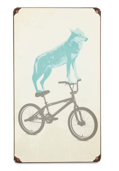 bought this hand-rusted tin sign last night! Love animals and bicycles so what could be better than both together?!