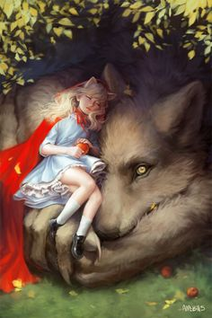 """Red Riding Hood: ~ """"Red & Wolf,"""" by Amanda Schank. Red Riding Hood Wolf, Red Ridding Hood, Art Anime Fille, Anime Art Girl, Anime Wolf Girl, Fantasy Creatures, Mythical Creatures, Animation, Lobo Anime"""