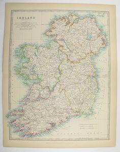 Vintage Map of Ireland, Wedding Gift for Couple, Office Art Gift for Coworker 1905 Antique Ireland Map, Vintage Irish Decor Gift for Parents available from OldMapsandPrints.Etsy.com #Ireland #AntiqueMapofIreland #JohnsonIrelandMap