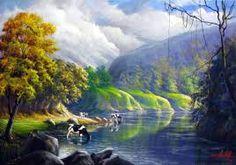 Resultado de imagem para pintura em tela paisagem