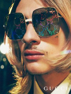 4d1c70e7887 Lenses with a rainbow colored GG pattern embellish new Gucci Eyewear  appearing in the Gucci Gift campaign photographed by Petra Collins.