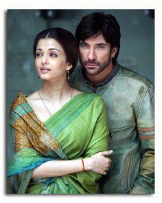 Aishwarya Rai wearing Green Raw Silk Saree