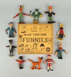 Set Of Jaymar Wooden Comic Funnies Figures. : Lot 994