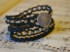 Double Wrap Black and Silver Macrame Bracelet