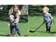 Is Luca Comrie (pictured here with Hilary Duff) going to take after his father, Mike Comrie (former NHL-er)? Here he is showing off his stick handling skills.