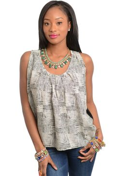 Checkered Pleated Neck Sleeveless Top