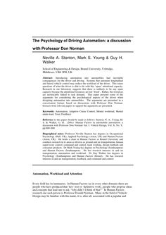 Full-Text Paper (PDF): The psychology of driving automation: A discussion with Professor Don Norman