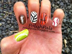 Learn how to create sport themed nails here! (Tennis ball, football, volley ball, basketball, and base/soft ball nails) :)
