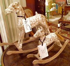 Gustavian Style Rocking horses in tabletop sizes. W Road Collection at Southside Antiques. https://www.facebook.com/SouthsideAntiquesLLC/