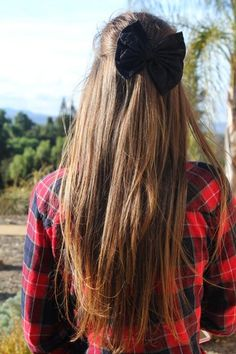 long hair black bow
