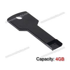 Metal Square Key Shaped 4GB USB Flash Drive U Disk   Black