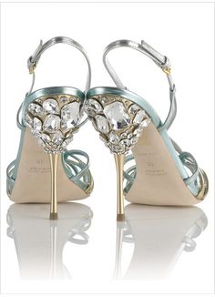 Delicate and strappy, mixed #metallics and #Tiffany #blue by #Miu Miu