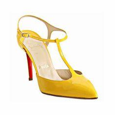 0ce895598c64 Christian Louboutin Yellow Patent Leather Coxinelle T-strap Sandals  Christian Louboutin Sandals