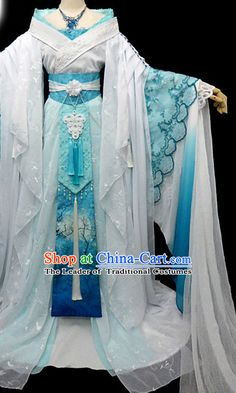 Ancient China Princess Garment Traditional Imperial Queen Costumes High Quality Chinese Empress National Costumes and Accessories Complete Set for Women rental set traditional buy purchase on sale shop supplies supply sets equipemnt equipments Ancient China Clothing, Pretty Dresses, Blue Dresses, Fantasy Gowns, Embroidered Clothes, Japanese Outfits, Kawaii Clothes, Cosplay Outfits, Hanfu