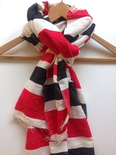 Black and  Red striped wool scarves.Red black White cotton wool blend scarves. Woven scarves & wraps/ Mens Woven's scarf stole  Accessories