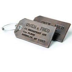 A Pair of Custom Smoke Grey  Leather Luggage Tags - comes in various colors