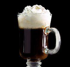 Irish coffee.Traditional Irish coffee with whiskey and whipping cream.