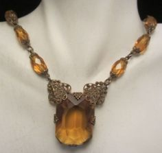 """Victorian 22"""" Brass Crystal Necklace 1-1/2"""" Filigree Amber Glass Pendant A33"""