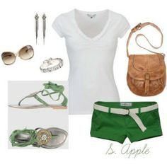 Gorgeous set with green shorts with white belt and top accompanied by brown purse, gladiator sandals. Earrings and glasses