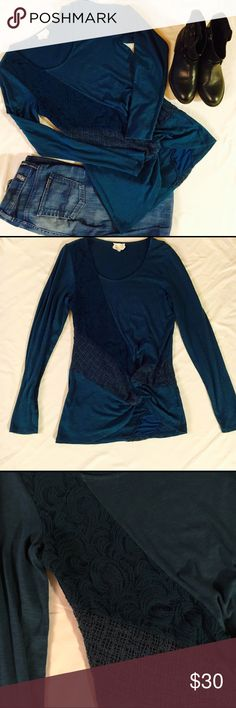 ANTHROPOLOGIE delta top Beautiful sapphire blue top by anthropologies delta. Feats lace embellishment on front and back. Anthropologie Tops Blouses
