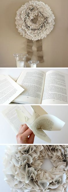 Upcycle an Old Book Into a Wreath | DIY Christmas Wreaths for Front Door | Easy Christmas Decorating Ideas 2014