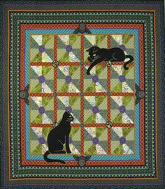 createcreatively:    Art Nouveau Cats designed by Miranda Stewart  Click on the photo to link to the free pattern.