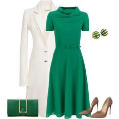 outfit 2246 by natalyag on Polyvore featuring moda, Carolina Herrera, Thierry Mugler, Christian Louboutin and Tiffany & Co.