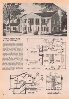 Old school solar Colonial House Plans, Craftsman House Plans, Sims House Plans, House Floor Plans, 1940s House, Early American Homes, Extravagant Homes, Vintage House Plans, Floor Plan Layout