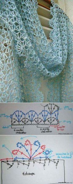Free crochet diagram wonderful crocheted scarf Spring / Summer with graphic —- beautiful crocheted scarf for spring or summer + grafics Source by Shawl Patterns, Crochet Stitches Patterns, Crochet Chart, Diy Crochet, Crochet Designs, Knitting Patterns, Crochet Diagram, Crochet Summer, Knitting Tutorials