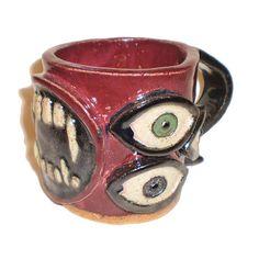 Eye Coffee Cup 5  Stoneware Clay Slab Pot With by aberrantceramics, $28.00