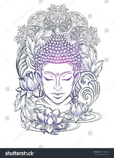 If you're planning to get a Buddha tattoo design, you've come to the best place. We have the best & most beautiful Buddha tattoos for inspiration. Buddha Tattoo Design, Buddha Tattoos, Buddha Tattoo Meaning, Buddha Kunst, Buddha Kopf, Buddha Art, Buddha Head, Buddha Buddhism, Mandala Art