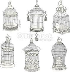 Clipart vectoriel : Hand Drawn Antique Bird Cages