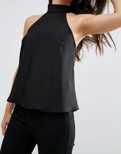 ASOS | Top con cuello halter de crepé con parte posterior drapeada de ASOS