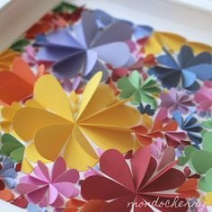 3D flowers made from paper hearts