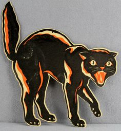 Estate 482 Vintage Halloween Die Cut Printed Cardboard Scaredy Cat Merri Lei | eBay