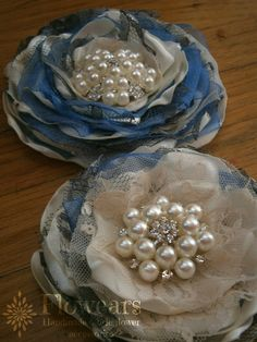 Set of two Fabric flowers in ivory grey and blue by Flowears, $38.50