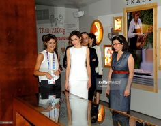 In this handout image supplied by Expo 2015, Isabel García Tejerina, Queen Letizia of Spain and Teresa Lizaranzu during a visit to Expo 2015 on July 23, 2015 in Milan, Italy.