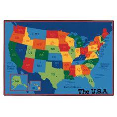 Value Plus USA Map Blue Area Rug | Wayfair