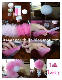 Tulle topiary tutorial - this would be an adorable idea for a birthday themed as 'The Lorax'.Tulle topiary tutorial cute sofia the first party center pieceTulle topiary tutorial make into minnie heads!Here is a tutorial for the tulle topiary I posted Fiesta Shower, Shower Party, Bridal Shower, Festa Party, Diy Party, Party Ideas, Tulle Crafts, Diy Crafts, Girl Birthday