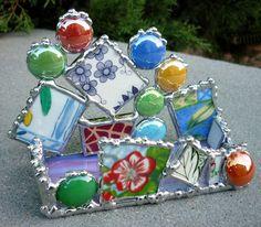 Vintage Dish Mosaic Cardholder