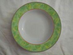 Mikasa Pomme Circle Soup Cereal Bowl x4 Green Leaf M5153 Porcelain JA