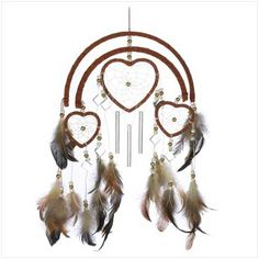 dream catcher heart windchime Description Feathers, beads and faux leather trim add authentic Southwestern styling to this one-of-a-kind windchime! Hang this triple-heart decoration where it's sure to be admired by all. Dream Catchers, Sun Catchers, Native American Wedding, Felt Cover, Lodge Decor, Heart Decorations, Wind Chimes, Decorative Accessories, Crystals
