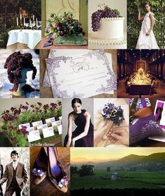 Mood: formal, intimate, vineyard  Palette: grape purple, vine green    ahhh! This is the vibe I love!