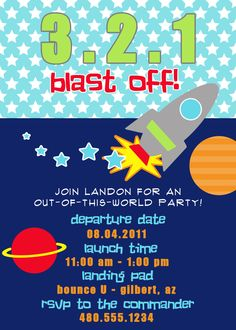 Astronaut Space Birthday Party Invitations Printable Kids Invite