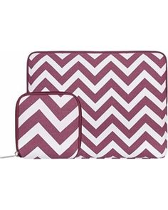 Exclusive New Year Deal on Mosiso Laptop Sleeve, Canvas Fabric Case Bag Cover for 11-11.6 Inch Acer Chromebook 11 / HP Stream 11 / Samsung Chromebook 2 / MacBook Air 11 with Small MacBook Charger Case, Chevron Wine Red, Purple