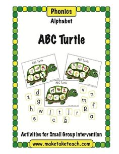 ABC Turtle - Make learning letters and sounds fun with the Make, Take & Teach ABC Turtle activity. Just a fun little freebie for pre-K and kindergarten teachers to use during small group instruction. Alphabet Activities, Literacy Activities, Literacy Stations, Literacy Centers, Preschool Alphabet, Language Activities, Reading Activities, Classroom Freebies, Classroom Ideas