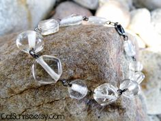 Clear Hand Blown Glass Bracelet - Beautiful Handmade Jewelry Created by Sisters from the California Coast