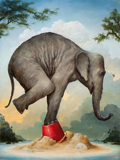 The Sandcastles by Kevin Sloan, acrylic - Yersq Sites Elephant Love, Elephant Art, Rain Painting, Painting & Drawing, Elephants Never Forget, Vintage Circus, Whimsical Art, Surreal Art, Animal Paintings